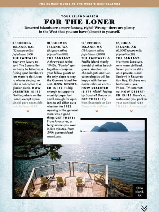 As seen in Sunset Magazine -Guemes Island a perfect getaway!