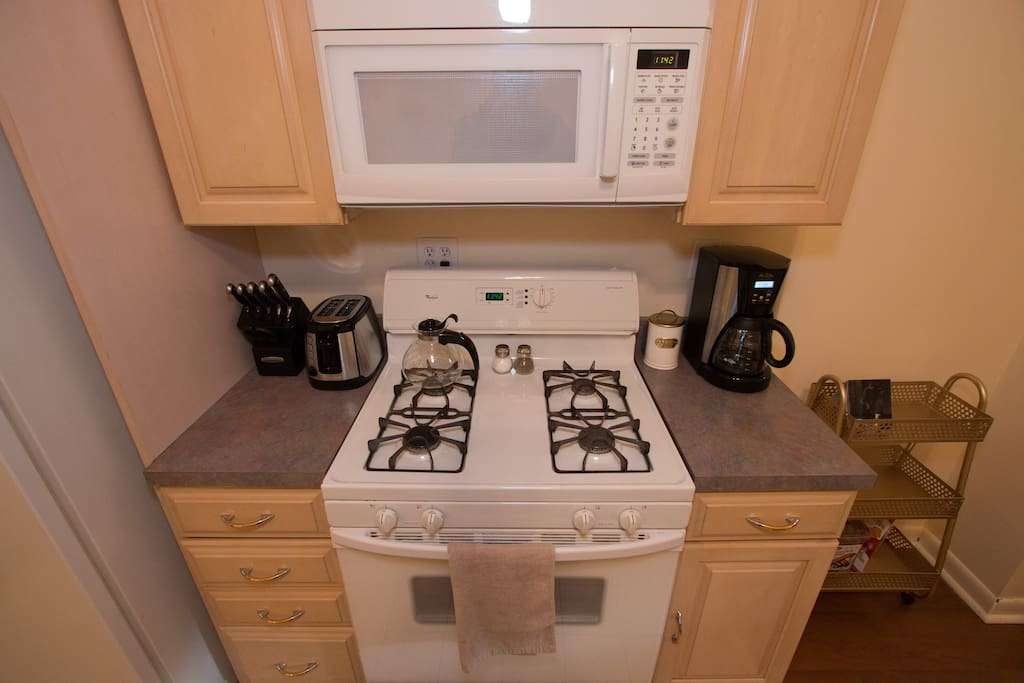 Microwave, stove, coffee maker, toaster, and other kitchen essentials
