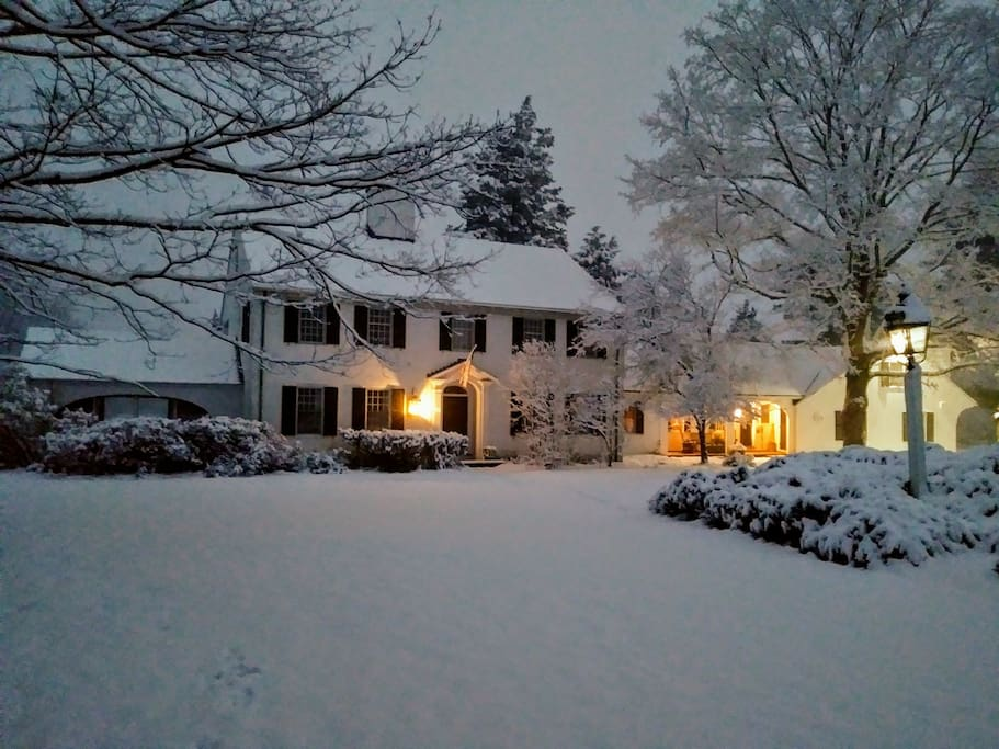 Fresh snow at dusk. Bring cross country skis or snowshoes and ski right out your door.
