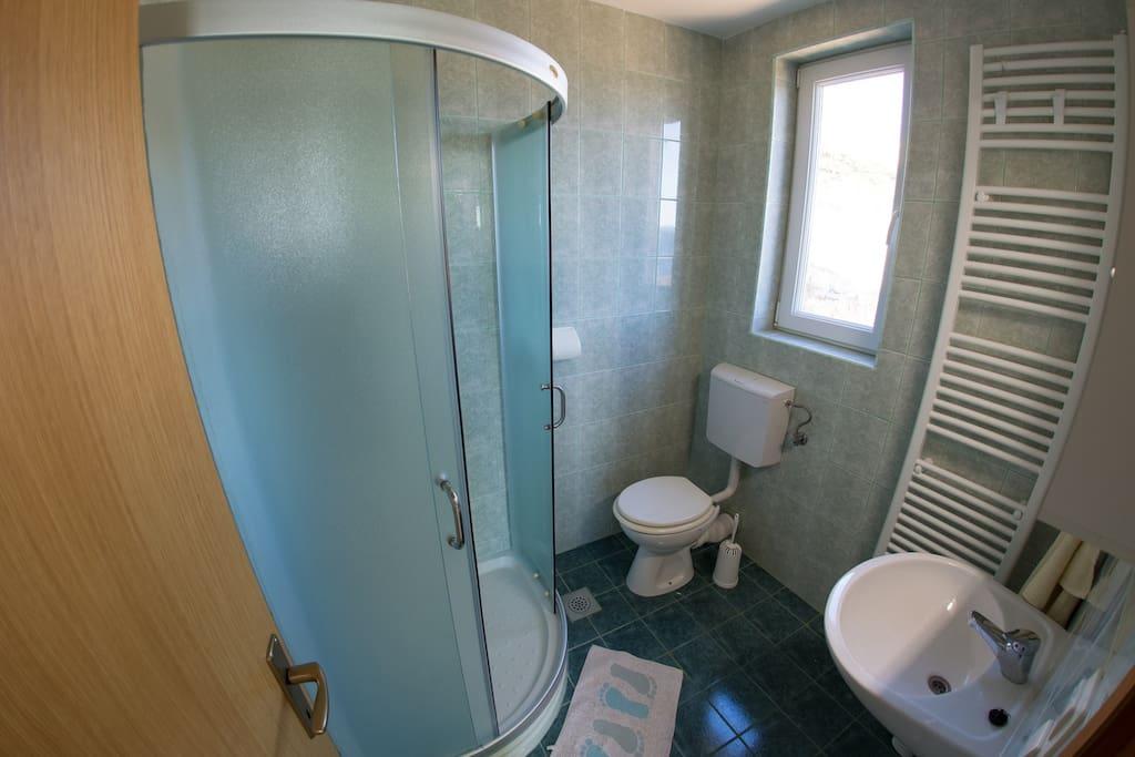 bathroom/shower and toilet entrance