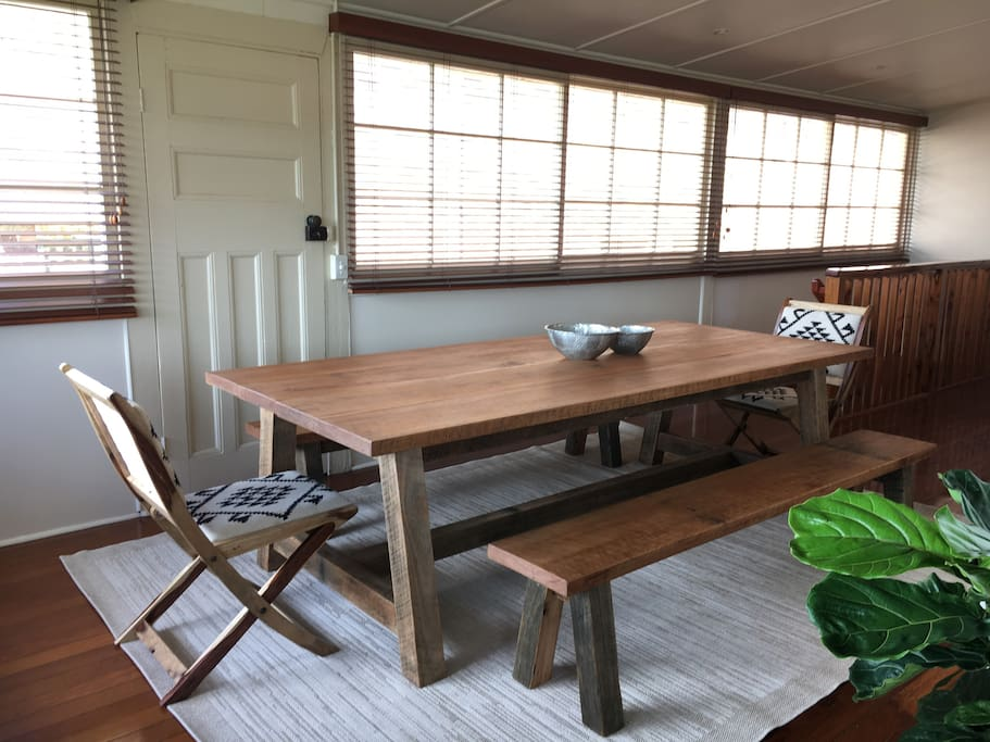 The massive custom made timber table we just had built.