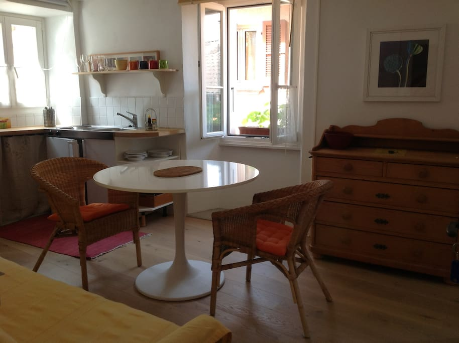 Your diningroom with kitchen corner/fridge/waterkettle