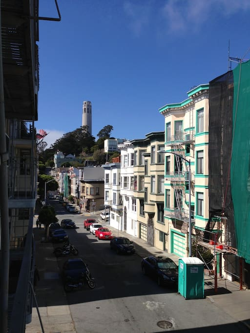 View of Coit Tower from apt balcony