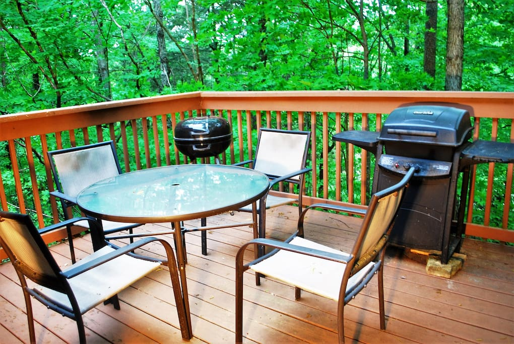 The back patio is complete with grill for cooking out and entertaining.