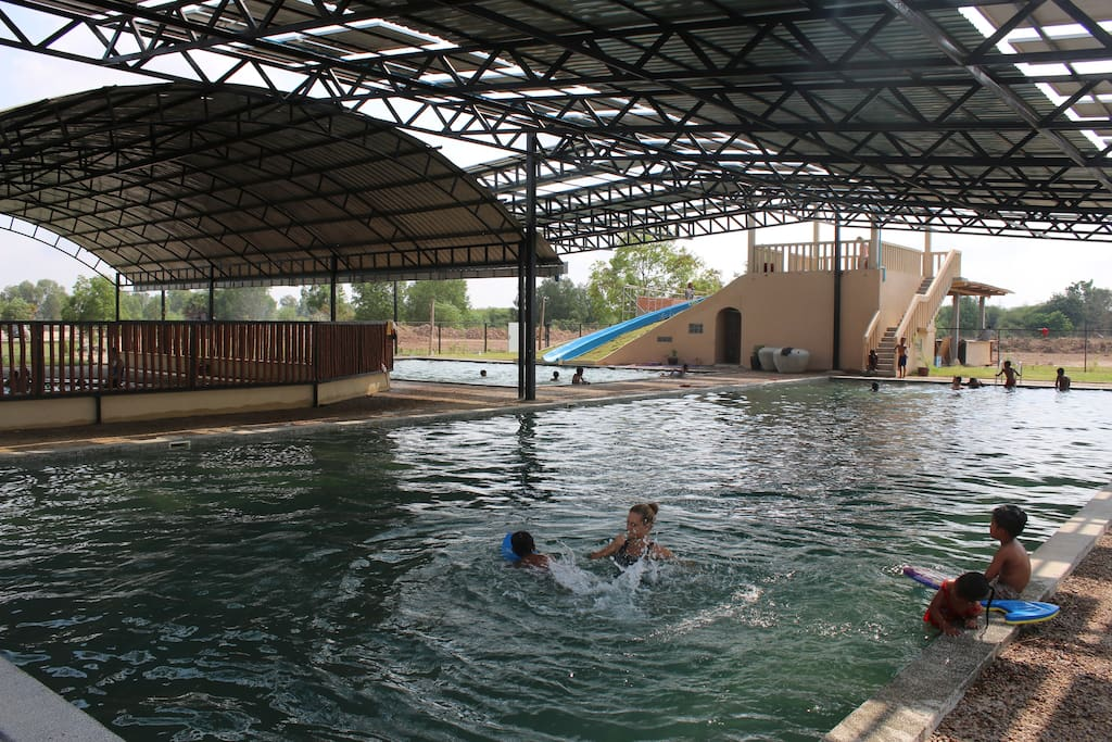 The swimming pools . There are 3 pools for different ages and skills. All are shaded and run on salt and solar panels.