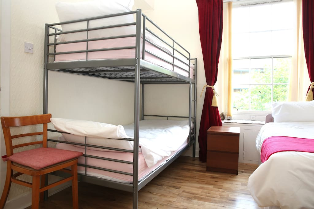 A pair of bunk bed and two single bed in the first bedroom for 4 single people. If the person do not like sleeping in the bunk bed, please sleep in the third room , There is a IKEA guest bed there.