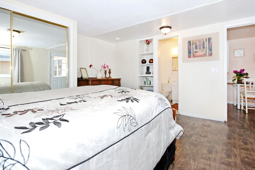 Spacious bedroom with a full size comfortable bed