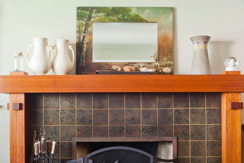 Grueby tile fireplace