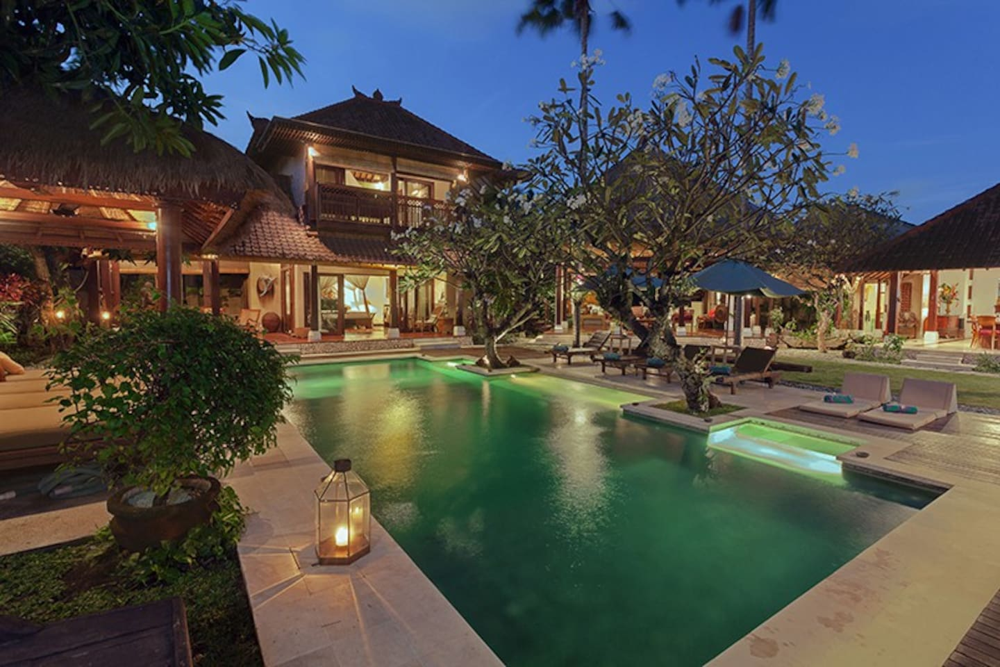 Overlooking the garden and the pool area.