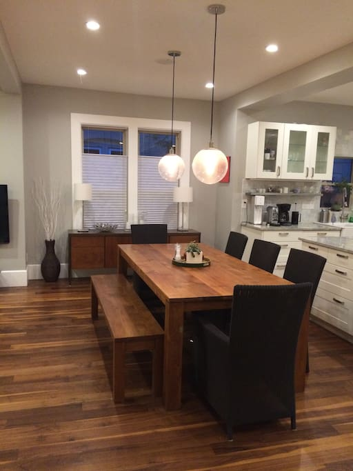 Large dining table seats 8 comfortably