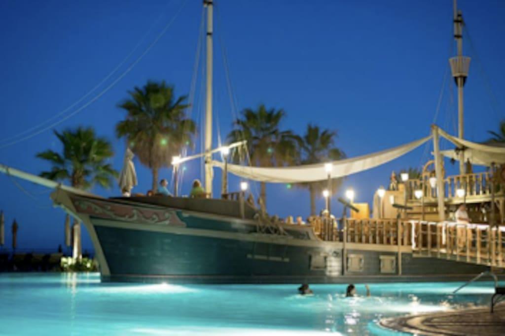 Pirate Ship themed restaurant.