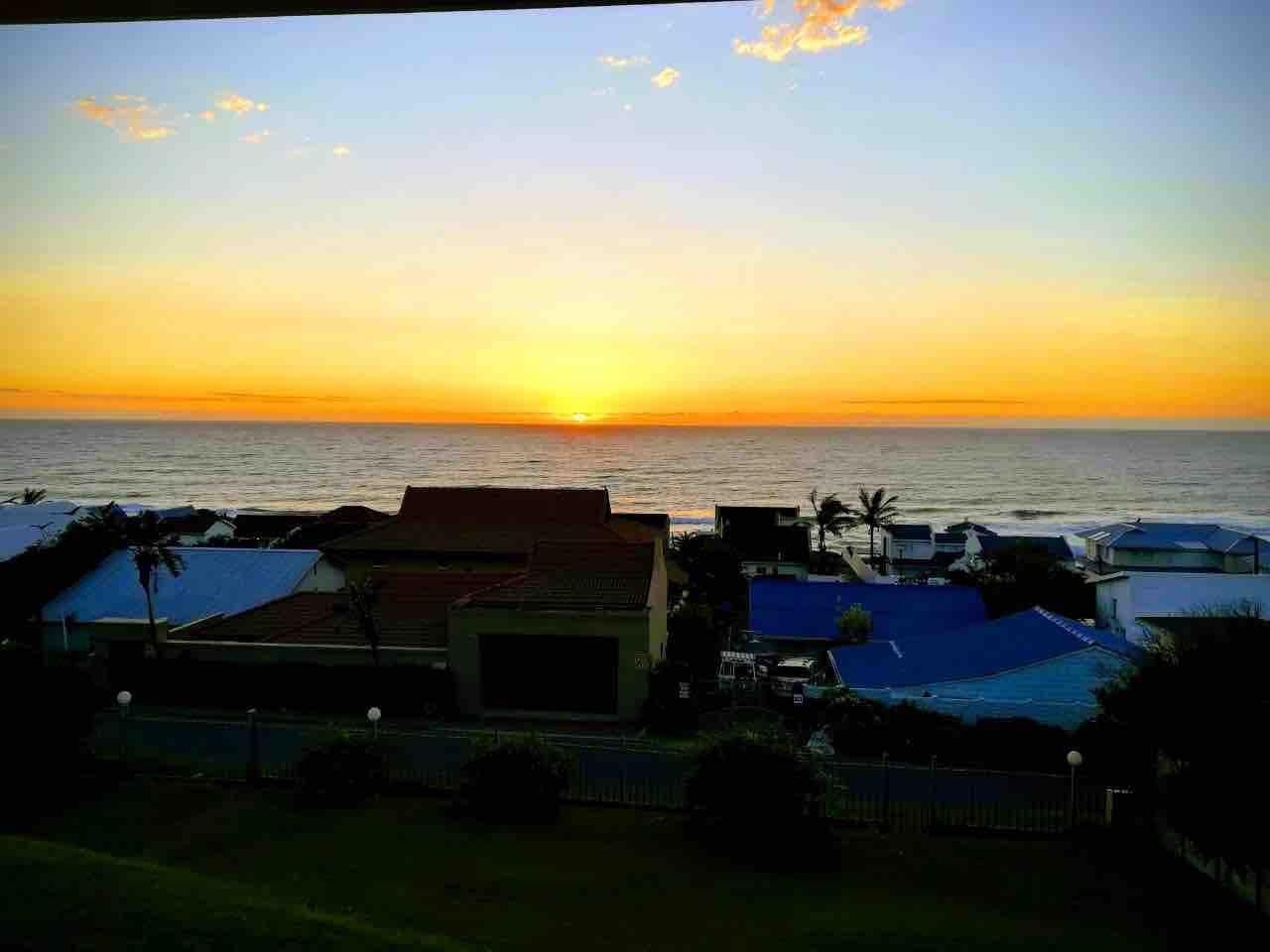 Beautiful summer sunrise seen from the veranda