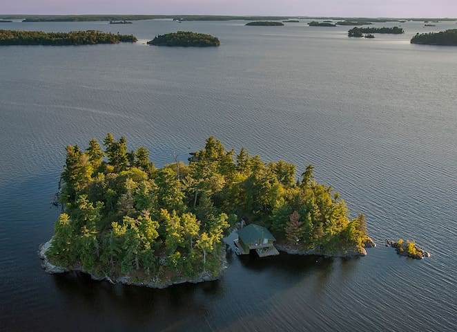 Remote Wilderness Island with Comfy Fishing Cabin