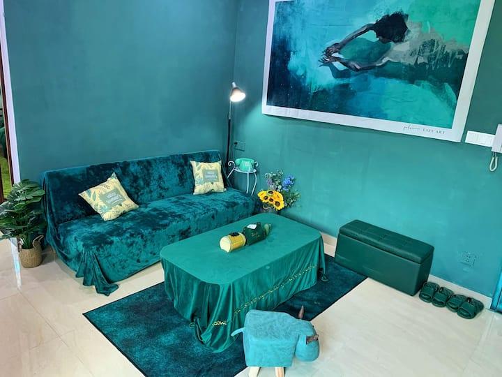 汕尾城区滨海 十年民宿公寓 复古优雅绿 近美食街