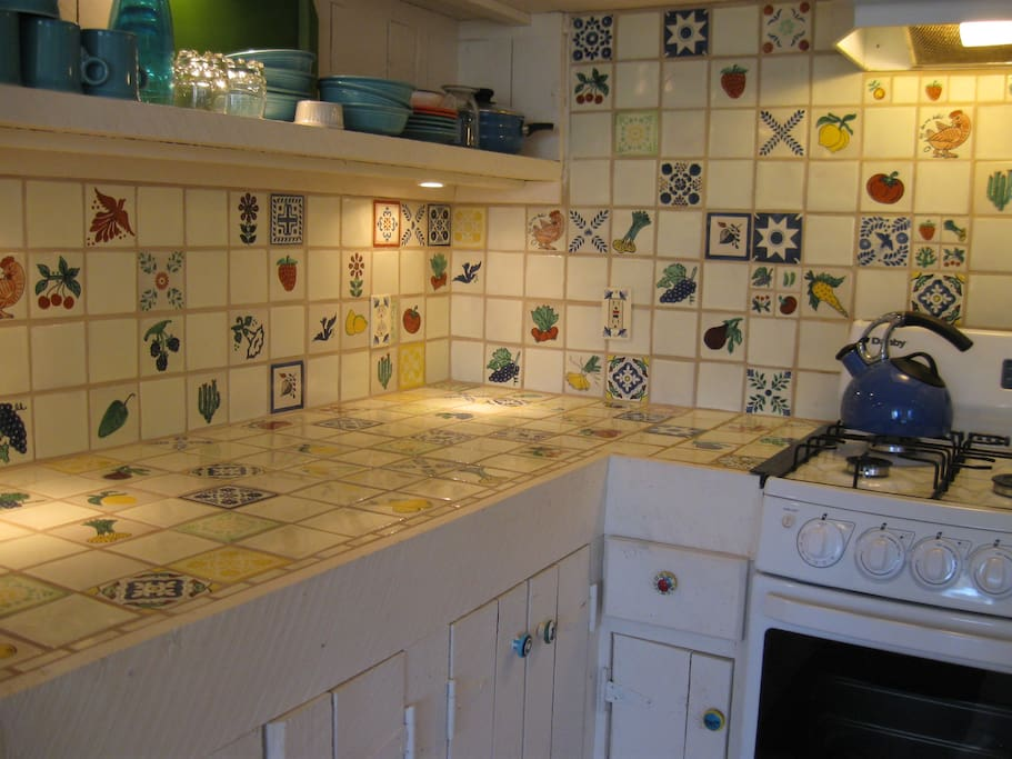 Hand painted Mexican tile kitchen