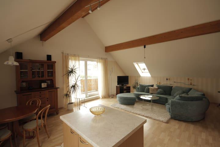 Das Wohnzimmer - rechts die gemütliche Couch, links die Wohnküche