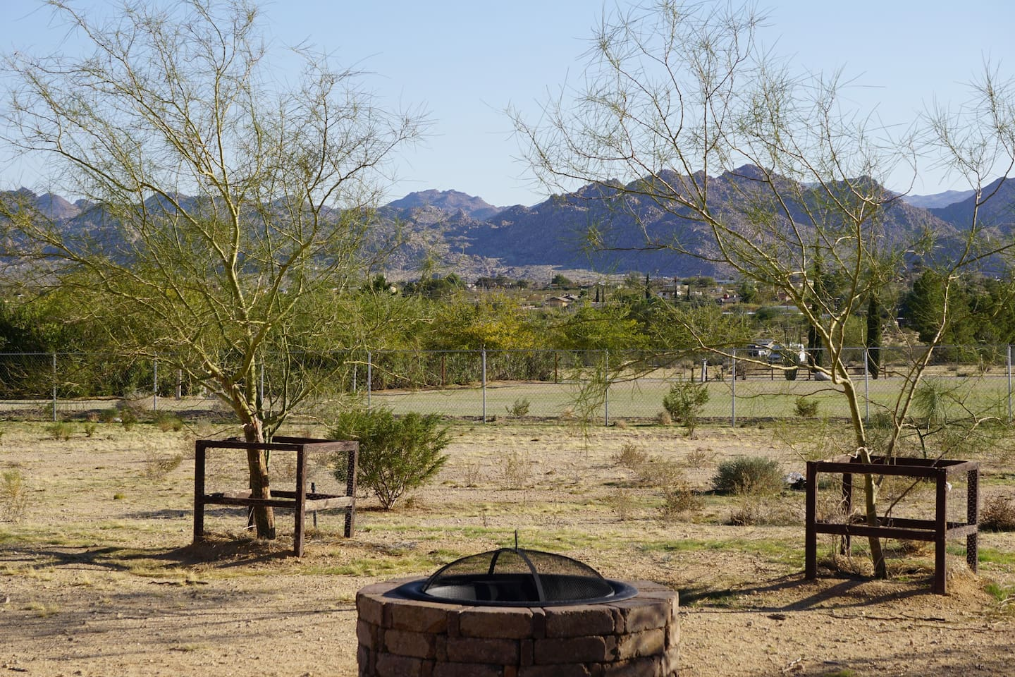 The panoramic view from our backyard of Joshua Tree National Park.