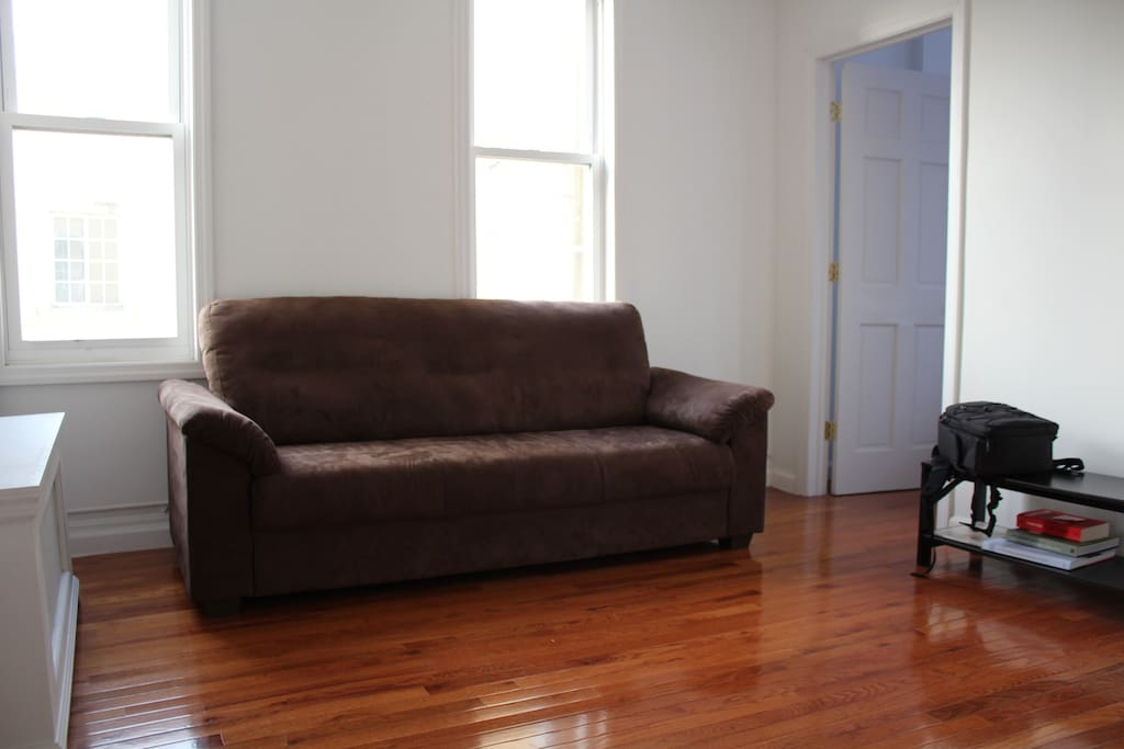 The space comes minimally furnished.