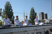 during summertime you can join our yoga classes on our great roof top sun terrace!