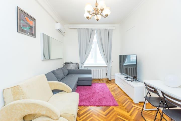 Two rooms in legendary house by Tverskaya street