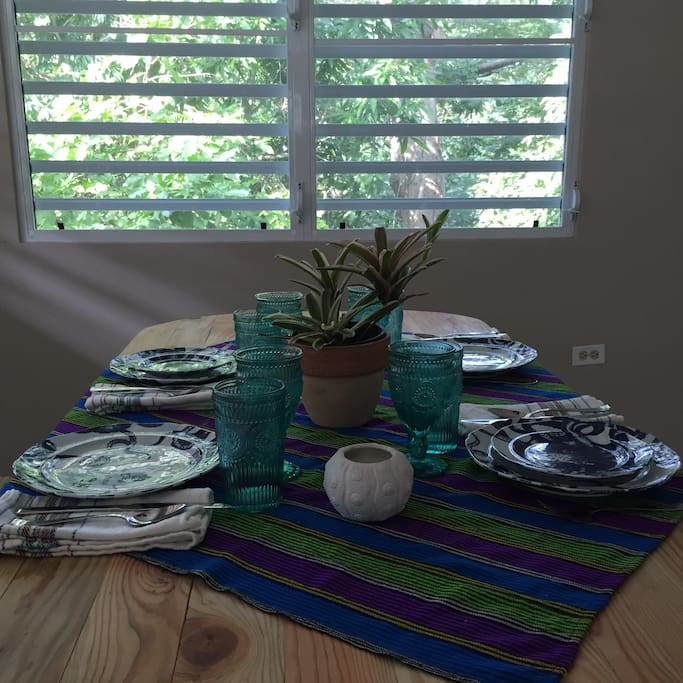 Lots of fun dishes and linens
