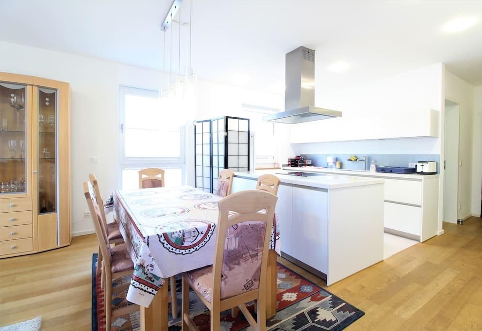 The modern kitchen is ideal for cooking sessions and with the dining area also perfect for enjoying home cooked meals.