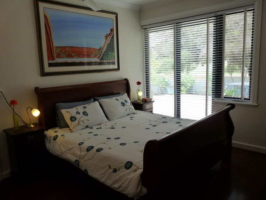 Main bedroom, King size bed, overlooking the park