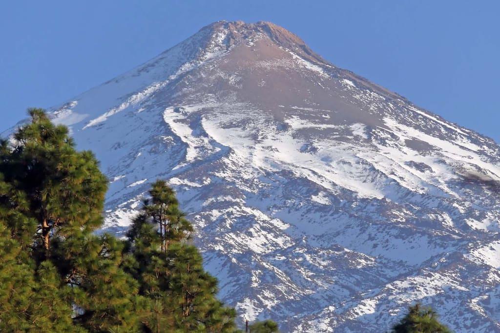 Majestätisch erhebt sich der Vulkan Teide hinter der Finca