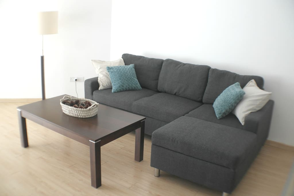 Comfortable sofa with cushions for a perfect relax time