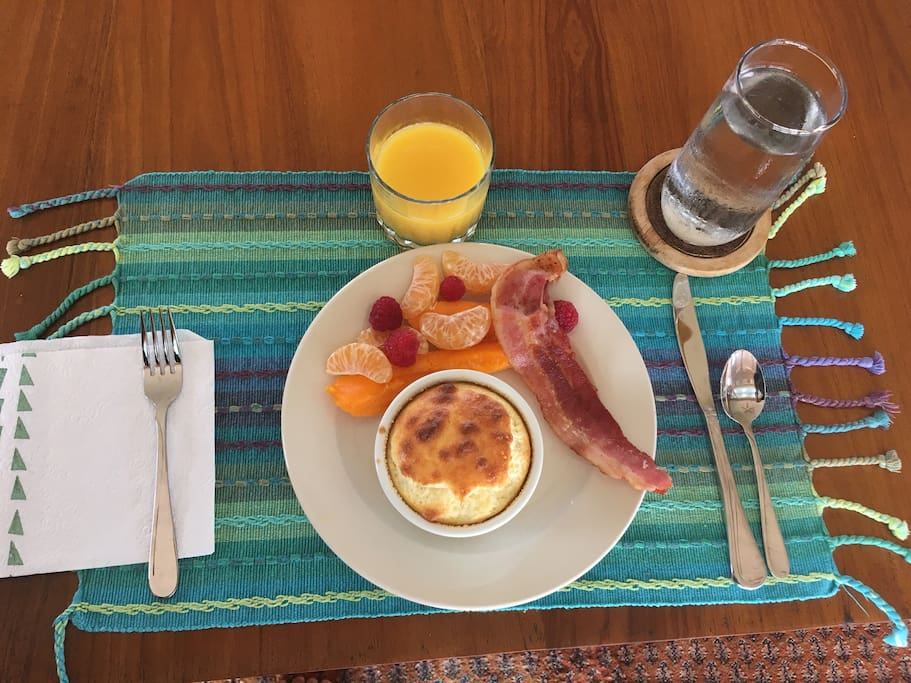 Enjoy chef-made gourmet breakfast, cooked fresh daily in the morning.