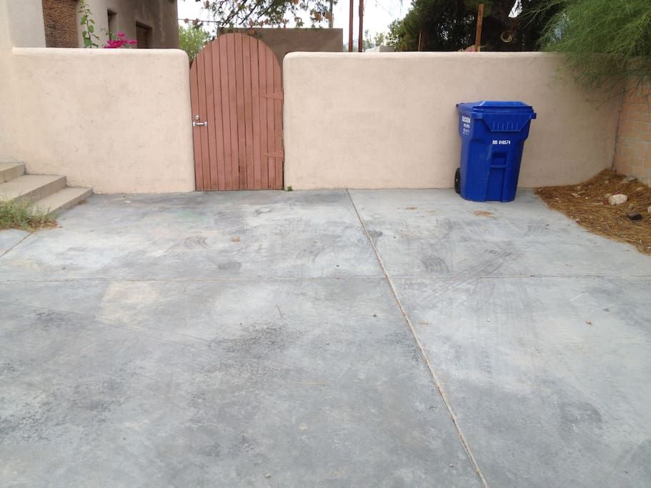 Private Parking and Entrance to Patio