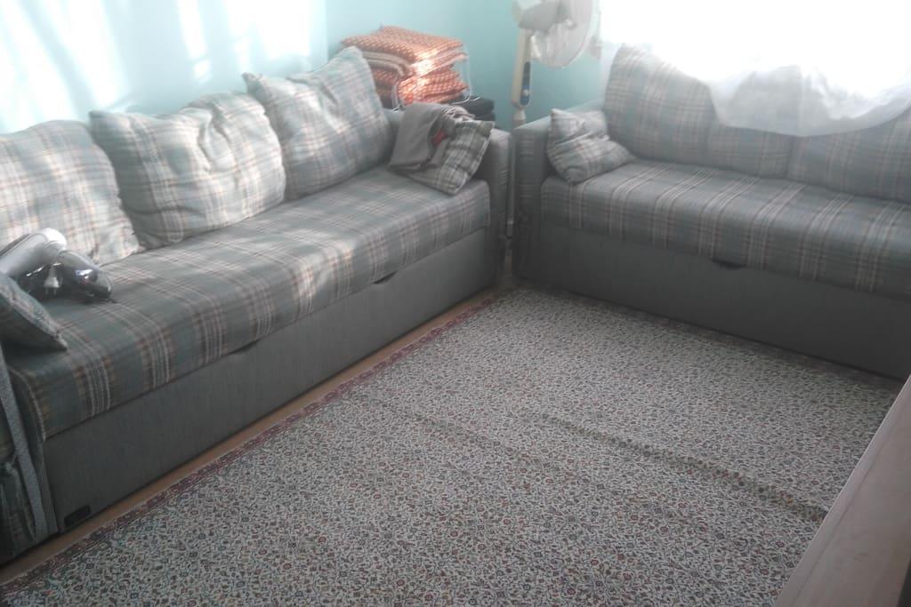 Oturma odası ve yatak odası