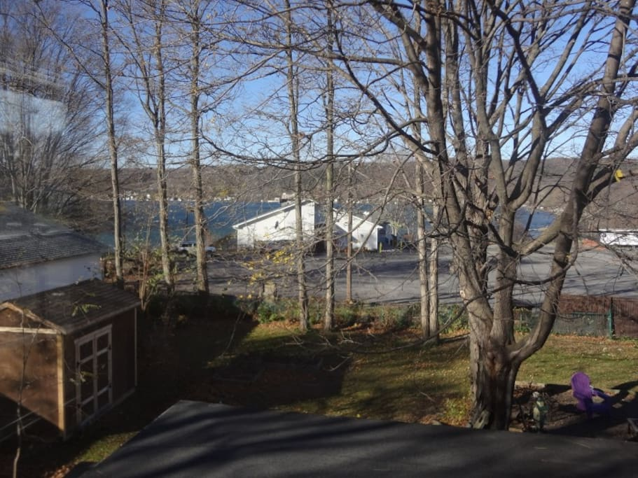 Large back yard with view of north end of the east branch of Keuka. This pic taken from outside unit door in early spring