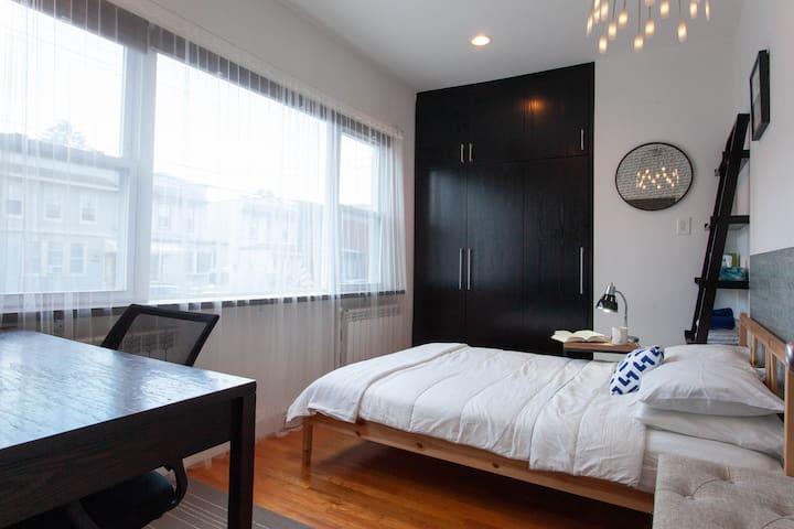 Bright, modern room with panoramic window