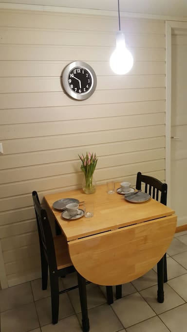 Table for 2-5 persons, extra chairs available in the apartment