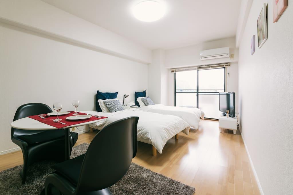 2 single size bed plus 1 futon set
