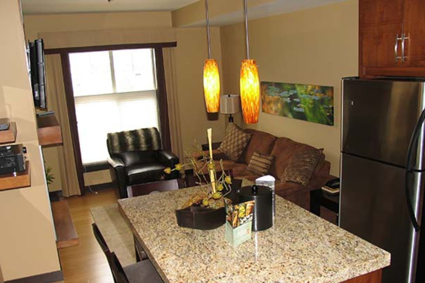 Beautiful open concept living area is perfect for families or friends.