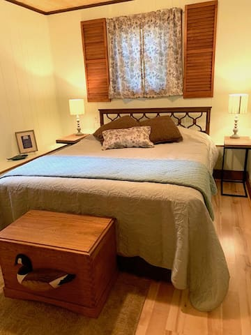 A view of the Master Bedroom with a Queen bed and closet... unpack and make yourself at home!
