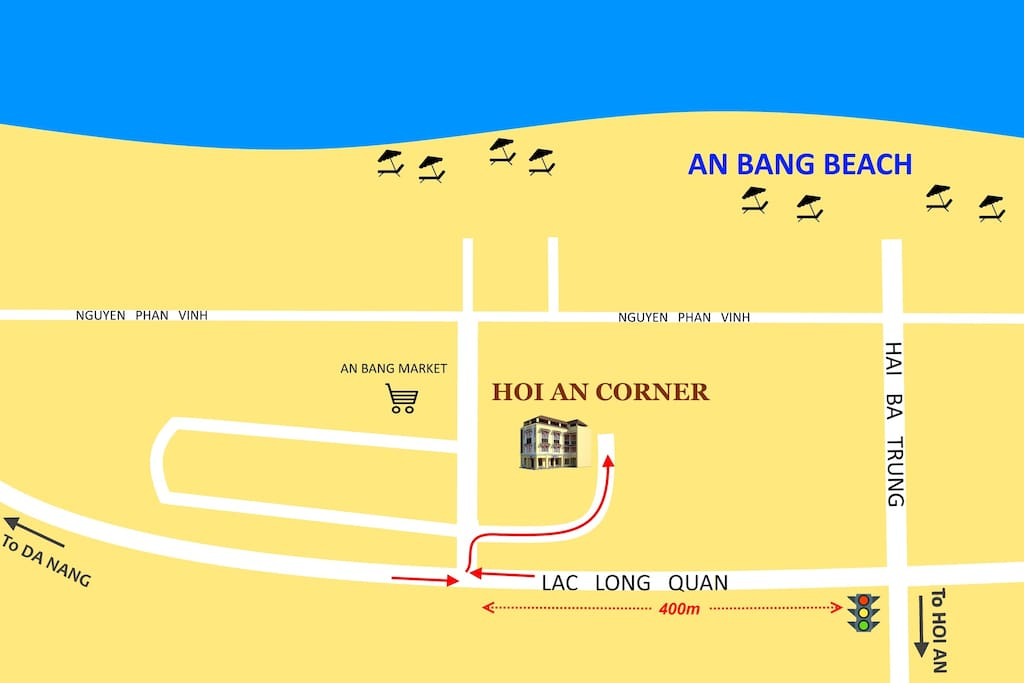 Map with direction go to Hoi An Corner - AN' home