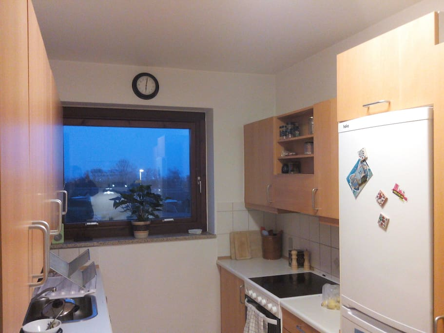 Kitchen with distant sea view