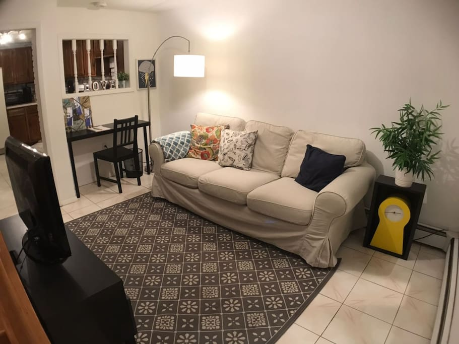 Relax in our comfortable couch and cozy living room.