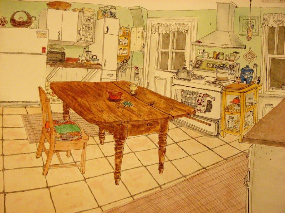 Ma cuisine... dessinée par une hôte air bnb