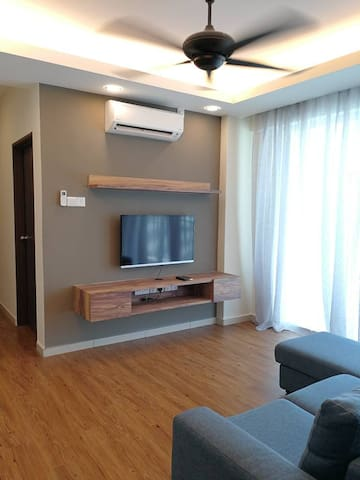 Living hall. TV equipped with selected Hypp TV channel. Air-conditioned.