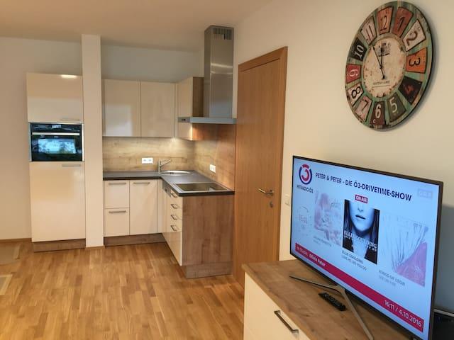 der Wohnraum mit Küchenzeile