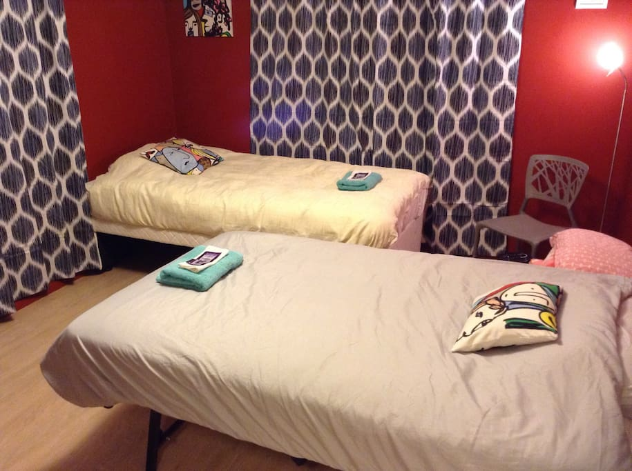 2 single bed setting. Beds are the same height, put together they form a comfortable King bed.