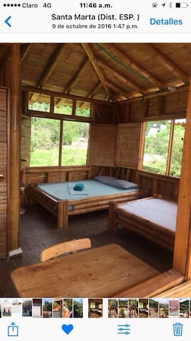Habitación muy cómoda y fresca balcón con hamaca vista al mar