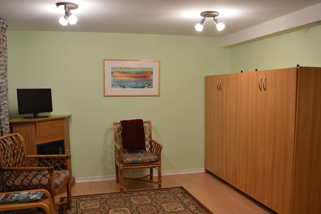 Spacious bed-sitting room with Murphy bed.