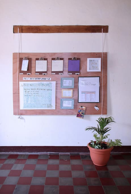 Entrance hall - announcement board - here you find information you'll need for your stay