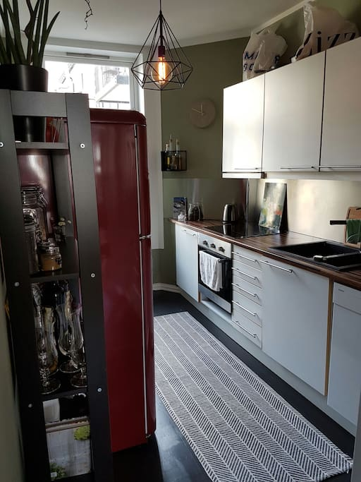 This is the kitchen seen from the entrance.