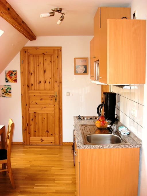 Küche in der Ferienwohnung Rheinsteig im Ferienhaus Kleine Merle